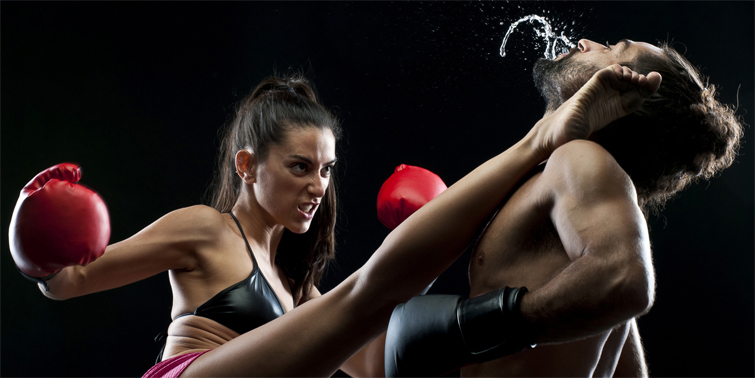 Couple kickboxing